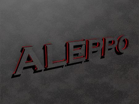 Aleppo red dark grey text letters rock 3d render