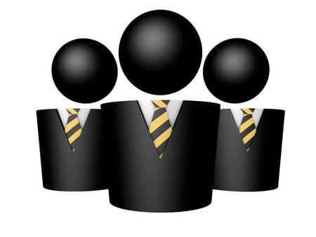Three businessman symbol black icon tie white background 3d render rendering illustration