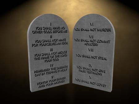 commandment: 10 God commandments stones tablets lights rays 3d render rendering