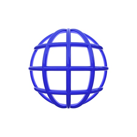 3d globe blue icon render white background segments
