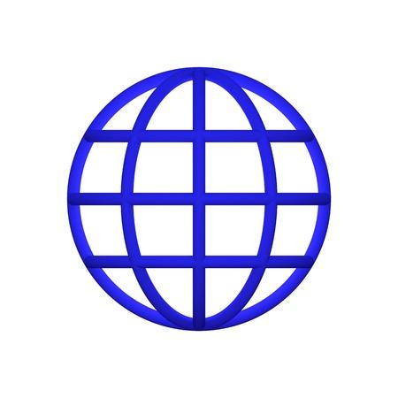 3d globe blue icon render white background