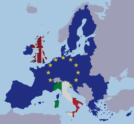Brexit UK Italian Republic Italy EU map flags europe cut out fx 免版税图像 - 126784790