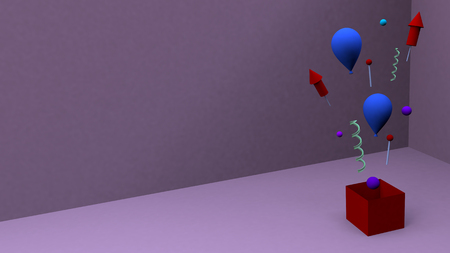 Happy birthday celebrating background purple with colorful blue balloons red box
