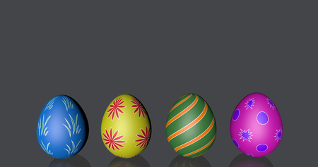 nice easter eggs four black background with place for the note mirror glass