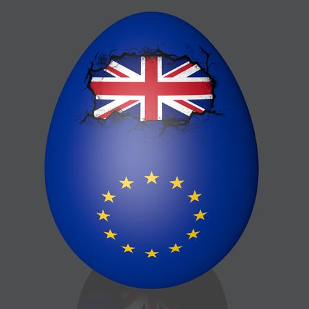 Brexit UK and EU map easter egg crack break flags europe