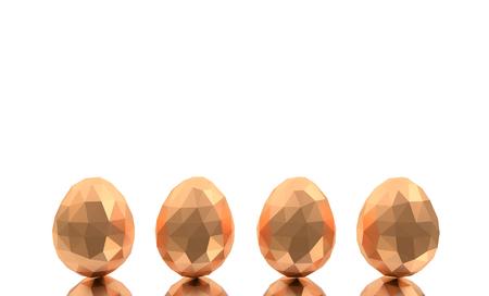 easter low poly polygonal polygon golden eggs four white background Stock Photo