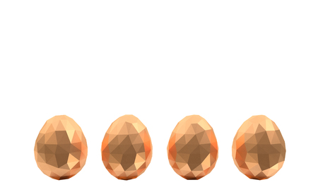 easter low poly polygonal golden eggs four white background no reflection Stock Photo