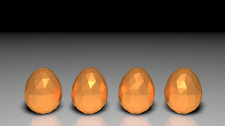 easter low poly polygonal golden eggs four light shadows