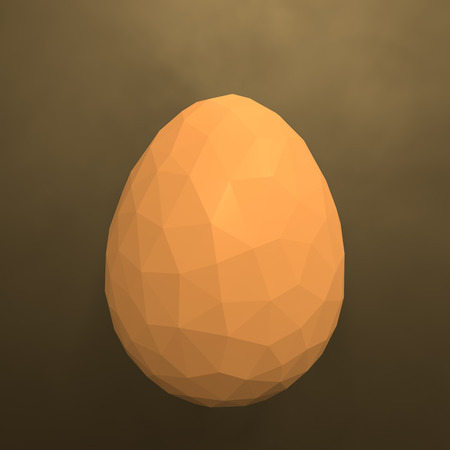 easter low poly polygonal golden yellow egg 3d illustration rendering Stock Photo