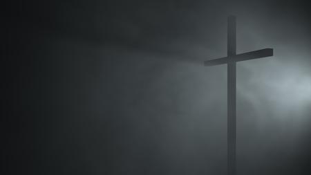 3d illustration 3d rendering 3d render catholic catholics cross perspective wind fog