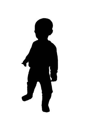 kid boy silhouette black empty background Stock Photo