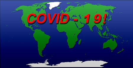 covid 19 World Map Illustration green blue white color cut out effect effects