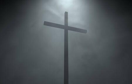 3d illustration 3d rendering catholic catholics cross perspective wind fog rays
