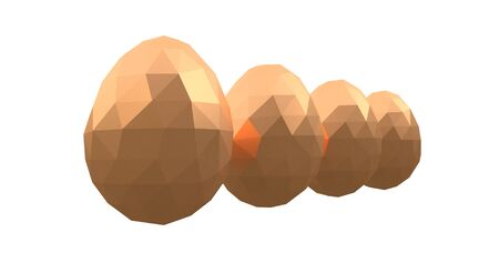 easter low poly polygonal golden eggs four white background