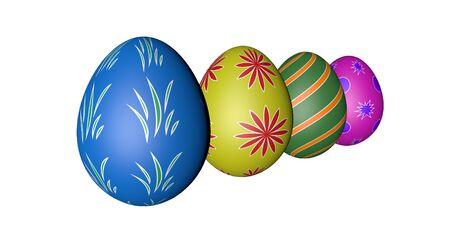 easter eggs four white background