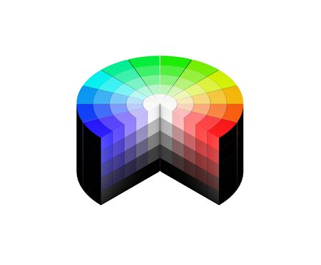 3d color colors wheel HSV HSB RGB white background isolated isometric Stock Photo