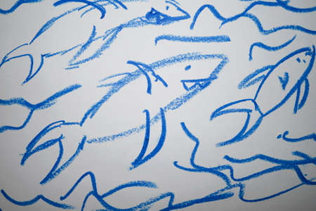child drawing white font background blue colors color pencil pencils fish sharks shark under water Stock Photo