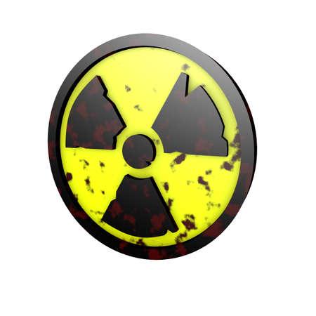 3d illustration radioactive radiation radioactivity atomic nuclear logo symbol rusted rough dirty render rendering Stock Photo