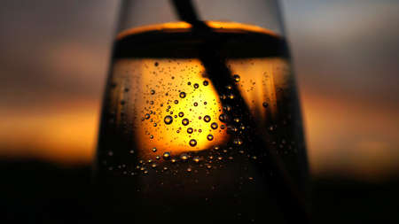 sunset twilight shines shining past throught clear transparent vase bowl glass cup water bubbles