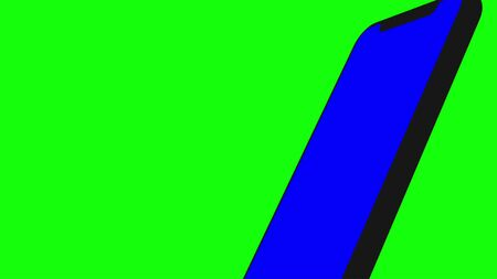 Black smartphone turns on on green background. Easy customizable blue screen. Computer generated image