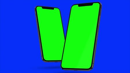Two Black smartphone turns on on blue background. Easy customizable green screen. Computer generated image