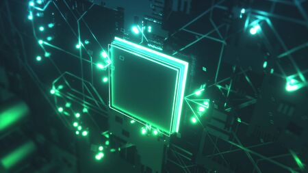 Circuit Board with moving electrons. CPU processing Data.
