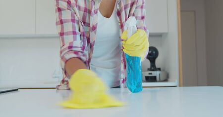 Cleaning the kitchen. Housekeeper washes the kitchen table