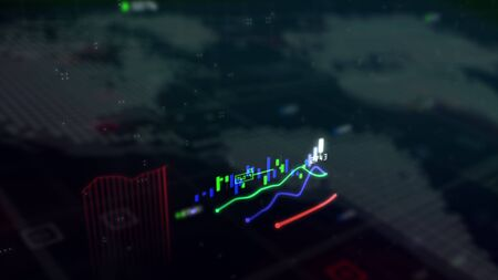 Stock Market technological Background.Candle charts. .Graph and diagram.