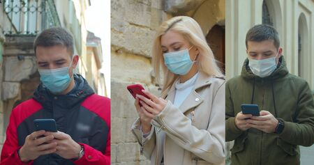 Multiscreen on people using smartphone in everyday life. Nomophobia - People using the mobile phone. Group of people in masks, collage citizens Virus mask on street wearing face protection in prevention for coronavirus covid 19.