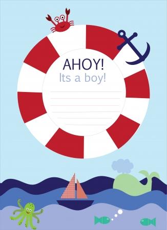 Es una tarjeta de aviso del bebé en el tema náutico Foto de archivo - 23902708
