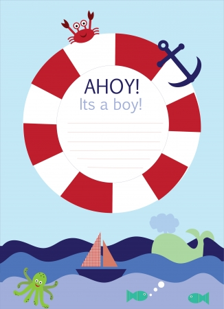 baby boy shower: Its a boy announcement card in nautical theme