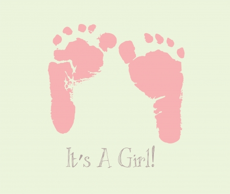 girls feet: Its a girl announcement card Illustration