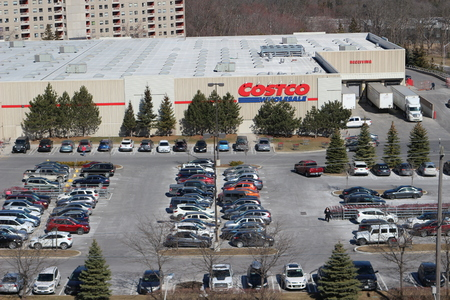 A full costco parking lot on a busy Saturday shopping day Editorial