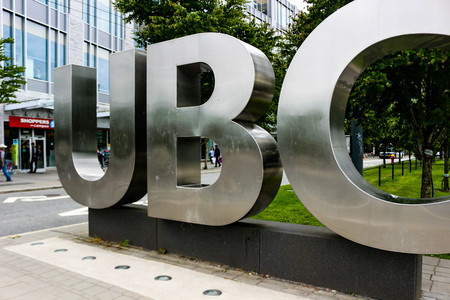 Vancouver British Columbia, June 20 2018: Editorial photo of the UBC sign that signifies that you are on the University of British Columbia campus. UBC is known for their amazing academics 新闻类图片