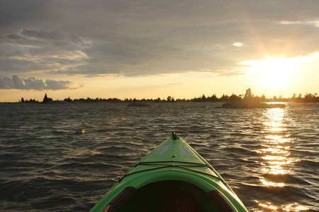Sunset on Georgian Bay at Parry Sound view from kayak
