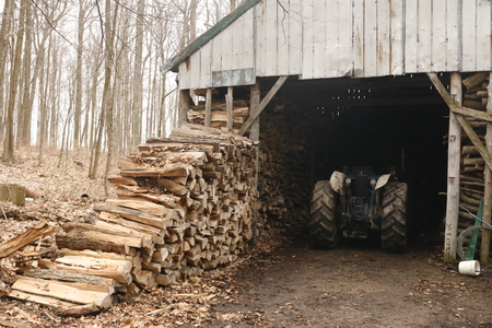 Punctured firewood in a pile against the background of a wood-burning barn.