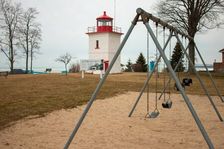 Goderich Ontario Canada lighthouse panoramic style photo. Goderich is popular for tourism. Taken in 2020