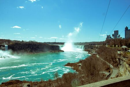 View of Niagara waterfalls during sunrise from Canada side 写真素材