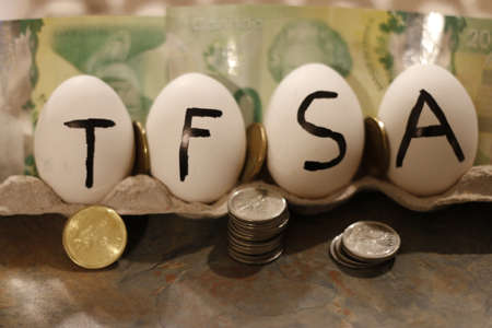 The word TFSA wrote on eggs. TFSA stands for Tax free savings account 写真素材
