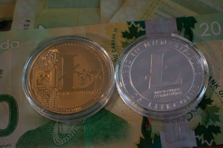 Physical version of Litecoin, new virtual money. Conceptual image for worldwide cryptocurrency and digital payment system called the first decentralized digital currency.. 報道画像