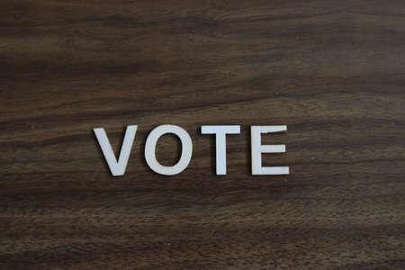 Vote Concept Metal Letterpress Word in Drawer 写真素材