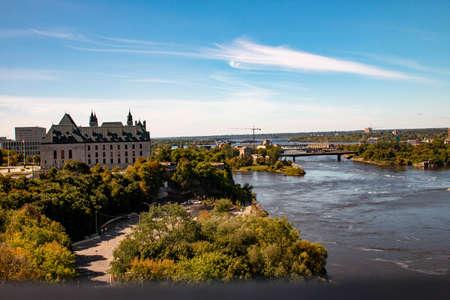 The Rideau Canal in Ottawa, Canada, a popular tourist destination.