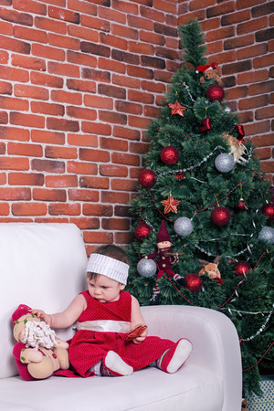 babygirl: Baby-girl with Santa Claus-toy