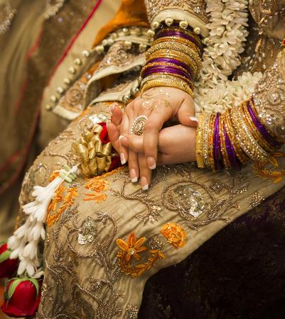 Golden indian bride Stock Photo