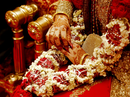 asian and indian ethnicities: indian bride hands