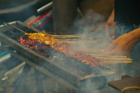 chicken satay sate grill spicy indonesia delicious photo