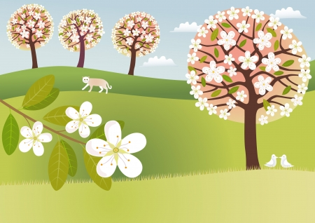 appletree: Countryside in blossom Illustration