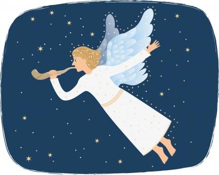 shofar: Angel blowing the shofar
