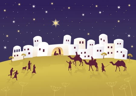 mary and jesus: Birth of Jesus Illustration