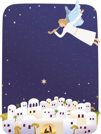 star of bethlehem: Birth of Jesus Illustration